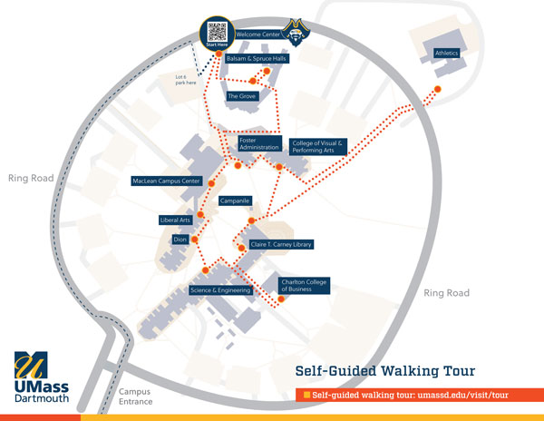 Follow the pdf version of this map below while walking along campus on your self-guided tour
