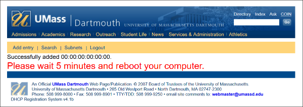 A picture of the CITS netreg computer registration page after successful registration