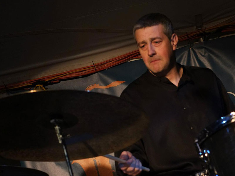 Christopher Poudrier playing drums