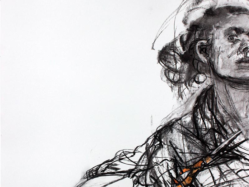 "Cut Off, 2015, charcoal and watercolor on paper, 39"" x 29"""