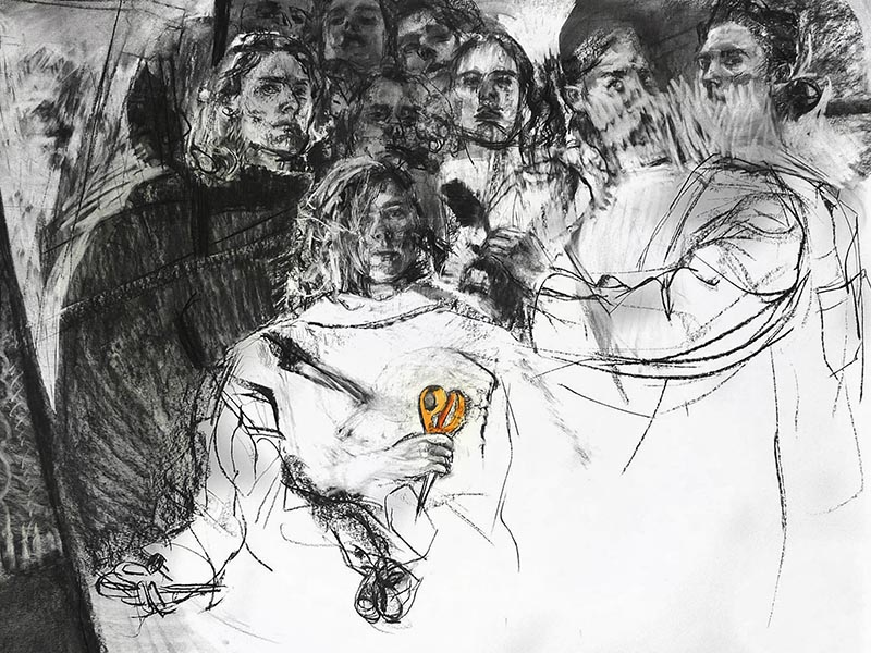 "Group Cut, 2014, charcoal and watercolor on paper, 54"" x 70"""