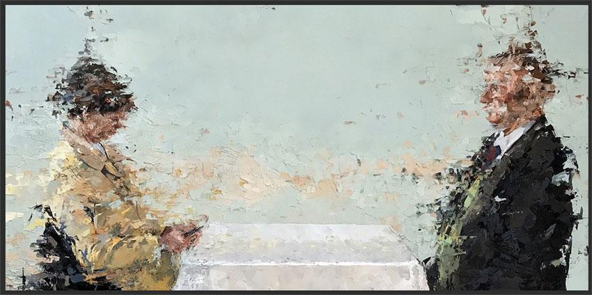 "Lisa Bryson, 2017, The Couple, oil on panel, 12"" x 24"