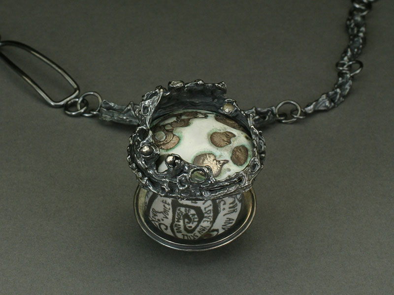 Lillian E. Webster, And what I dreamed..., sterling silver and enamel necklace, detail.