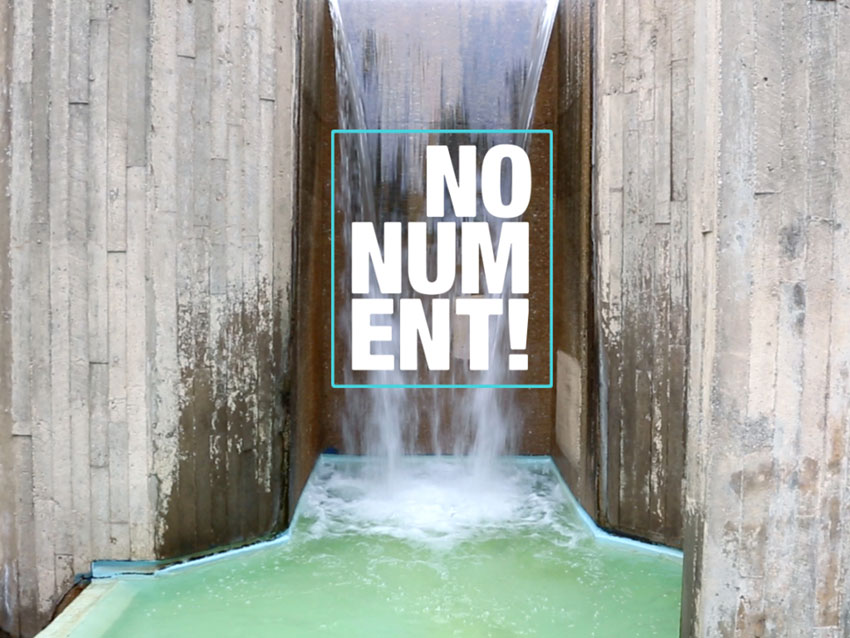 """Augmented Reality app """"NONUMENT 01::McKeldin Fountain"""", introductory screen (video still). ©nonument01.org, 2018"""
