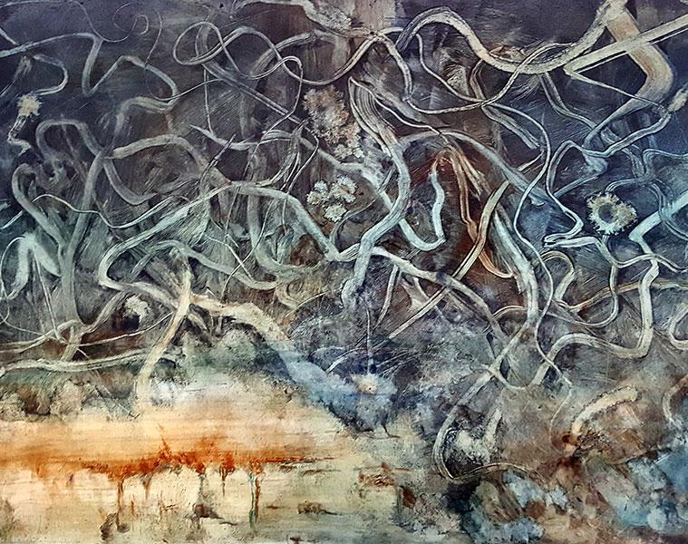 "Heather Stivison, Two Worlds, Oil on Panel, 24"" x 36"