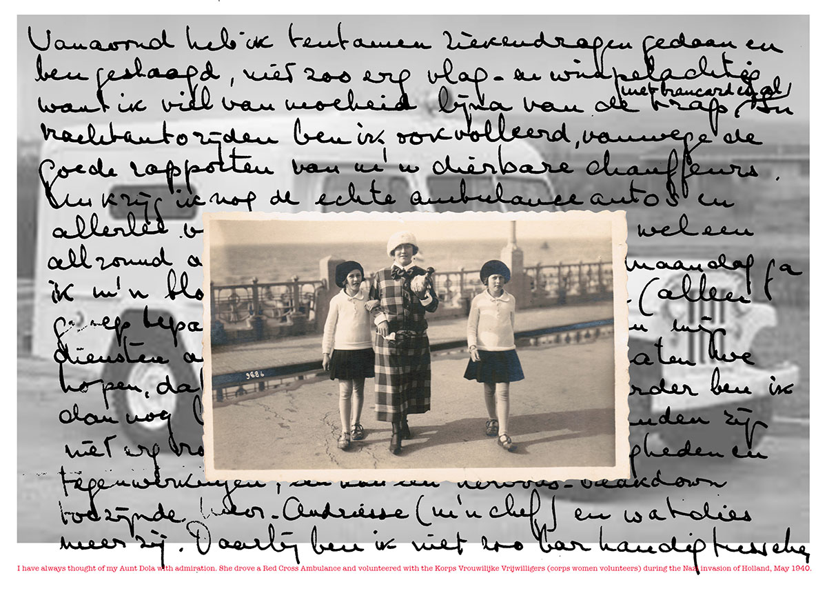 """Image © Alexandra Broches, Kitty and Dola with my Grandmother in Scheveningen by the Sea, 2015, archival pigment print, 24"""" x 30"""""""