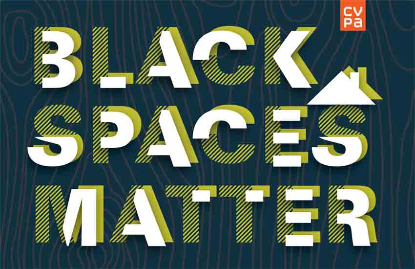 Black Spaces Matter Exhibition postcard front