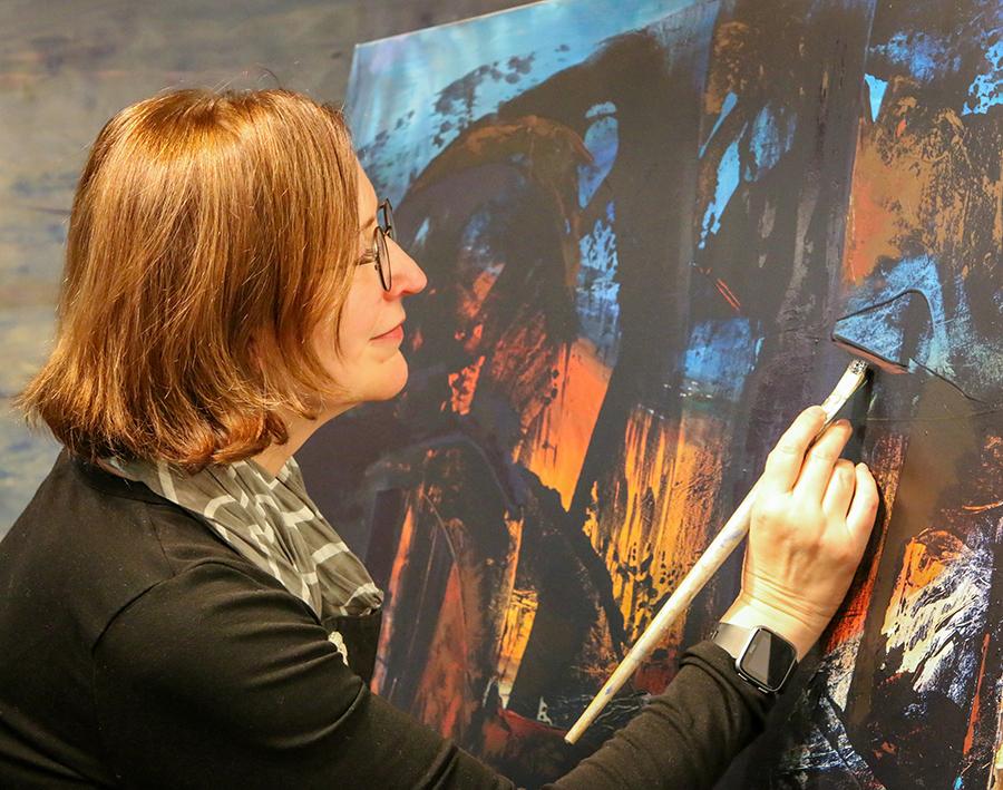 Heather Stivison working in studio