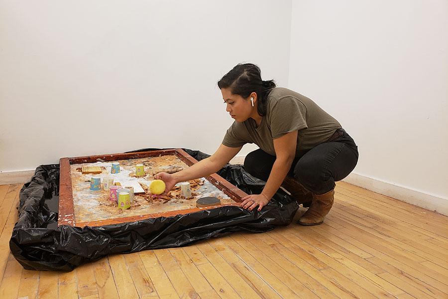 Jasmine Gonzalez working in studio