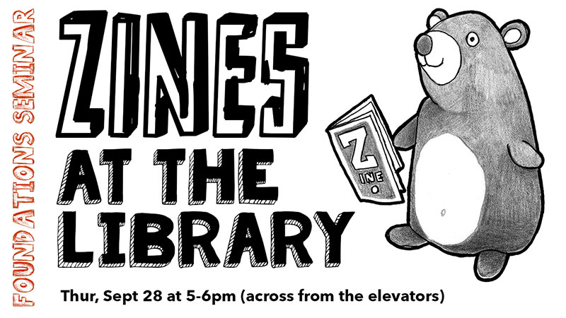 zines poster - drawing of bear holding zine
