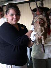Art History student holding mask