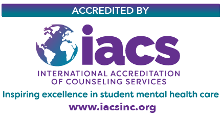 Logo with the text: Accredited by the international accreditation of counseling services