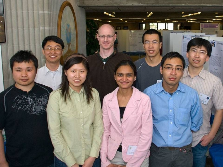 Dr. Guo and his research group at Sigma Xi research exhibit, 2008