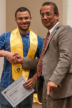 Dylan Baker with Provost Karim at Honors Convocation 2016