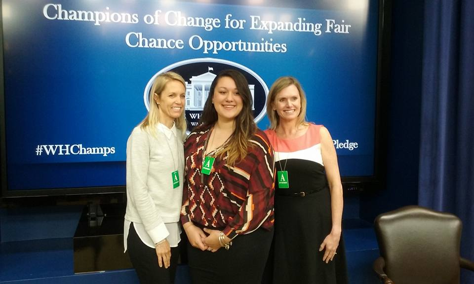 Jenyka at the Champions of Change event with Together We Bake co-founders Tricia Sabatini, left, and Stephanie Wright, right.