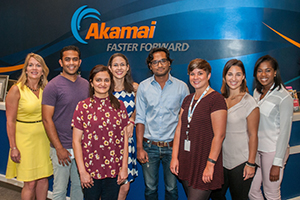 Ashley Gelin with UMassD interns and alumni at Akamai Technologies