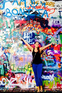 Maegan McConnell at the John Lennon Wall in Prague