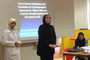 Dr. Sheila Macrine presenting her research in Qatar