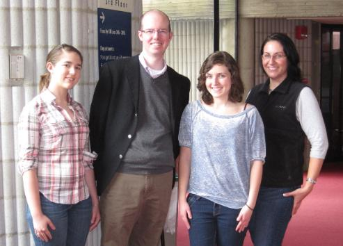 Dr. Revell with three Age-Related Research students