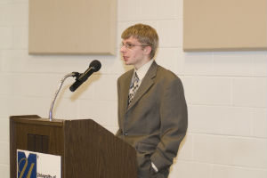 A student addresses the convocation.