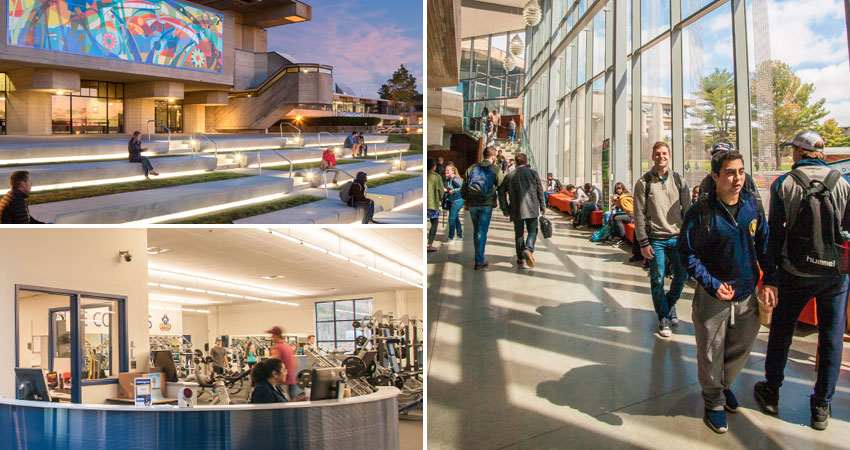 UMass Dartmouth quad, fitness center and library