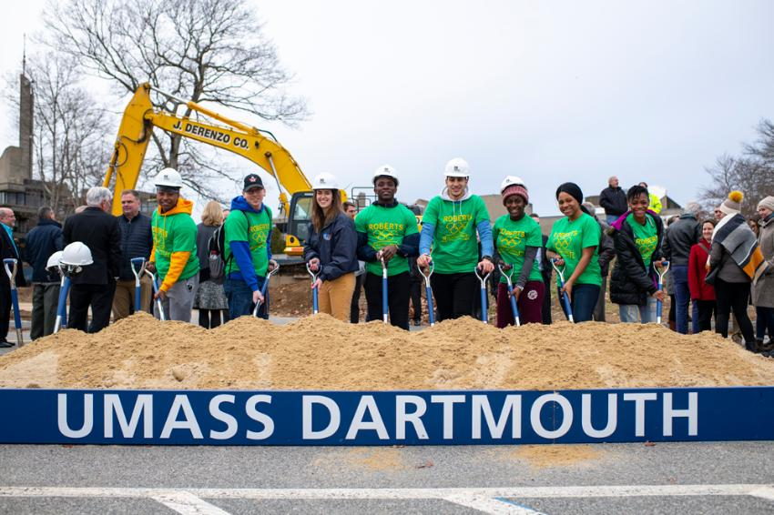 UMassD Students at groundbreaking ceremony