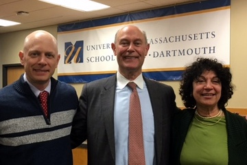 N.Y. immigration attorney George Akst with law professors Rick Peltz-Steele and Irene Scharf