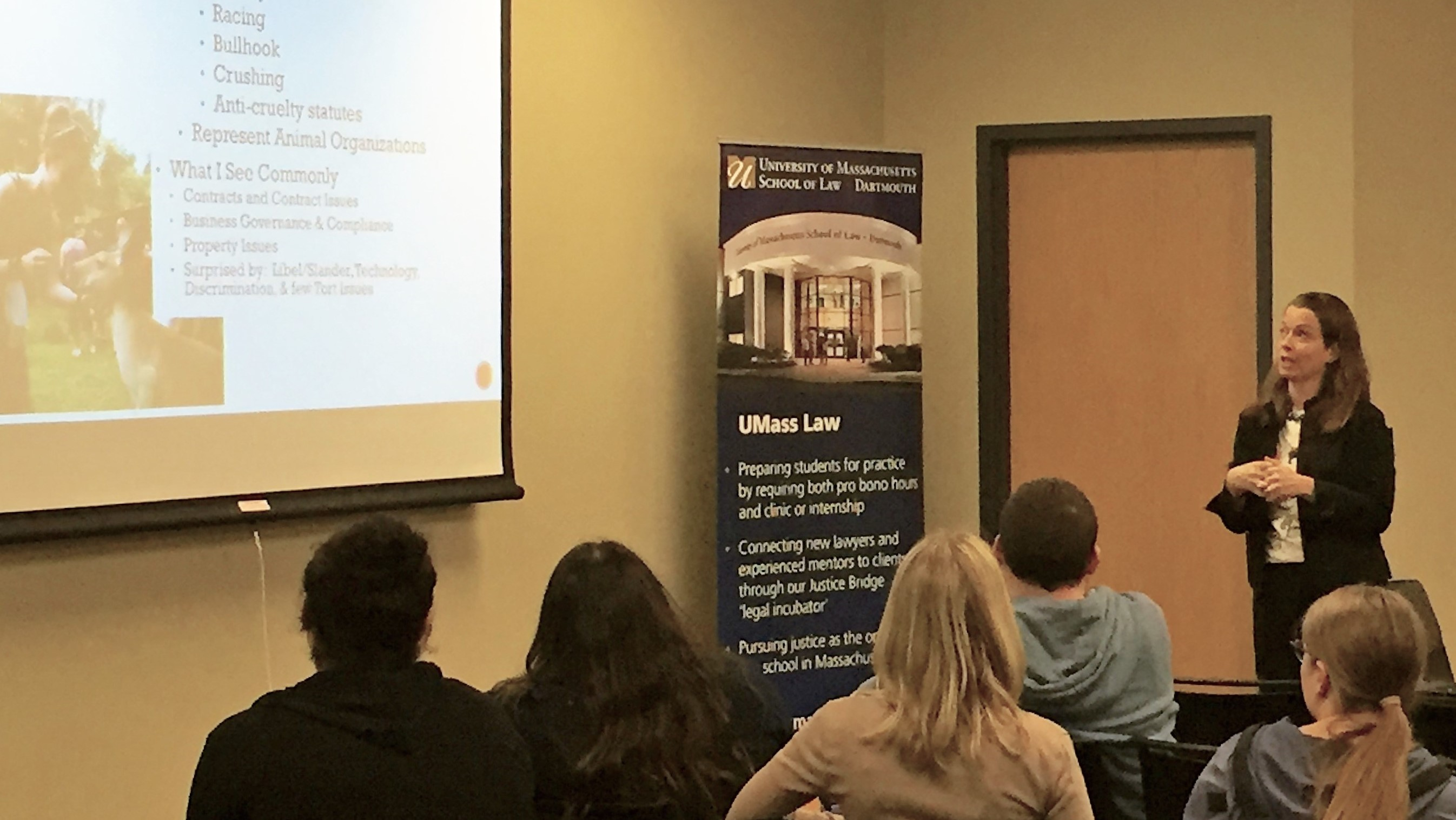 Professor C.J. Vachon talks about animal law to Student Animal Legal Defense Fund audience, March 2, 2017