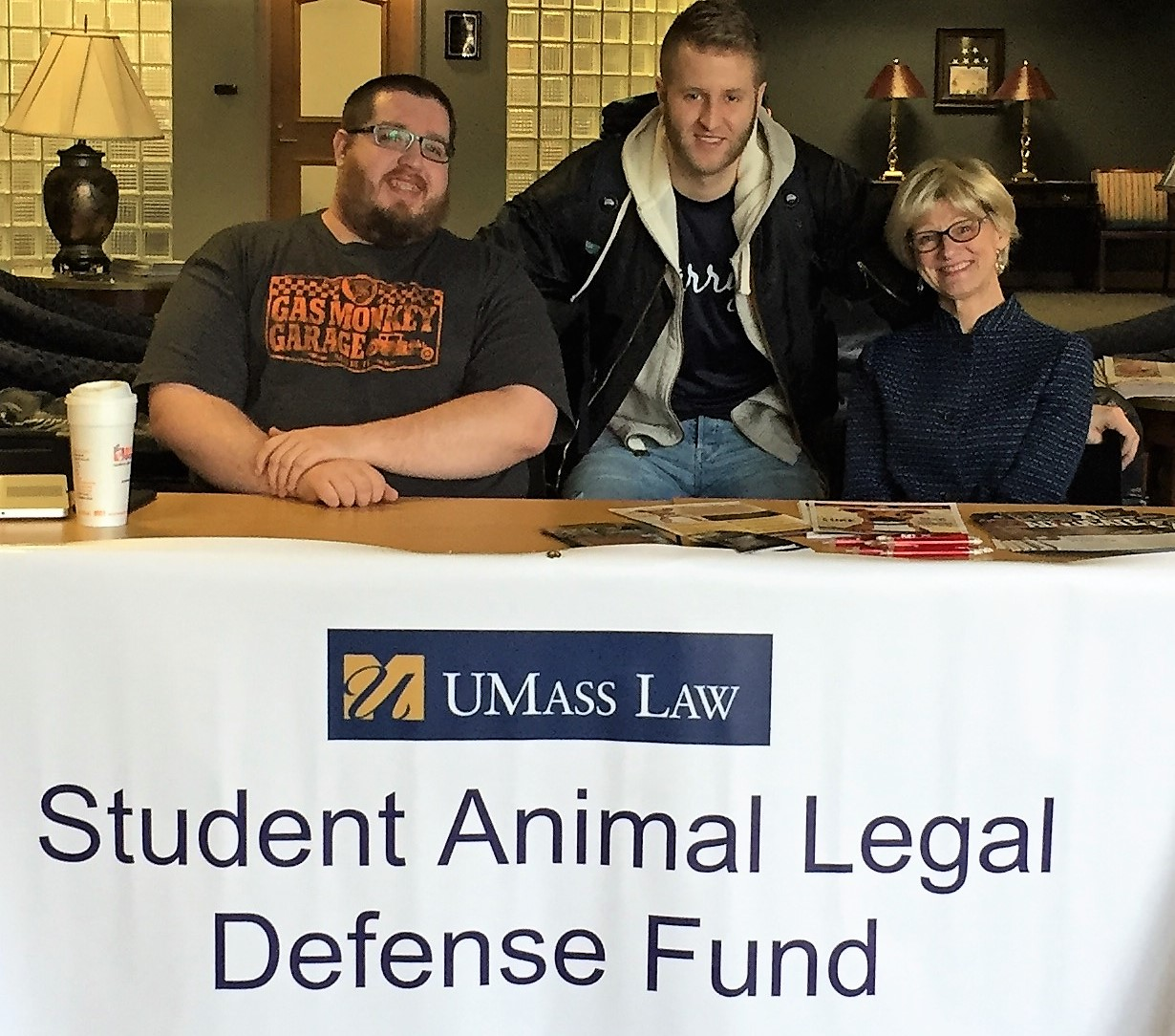 Student Animal Legal Defense Fund tabling event, March 2, 2017, with SALDF President Anthony Voss, member Casey Christo, and Vice President Mary Chaffee