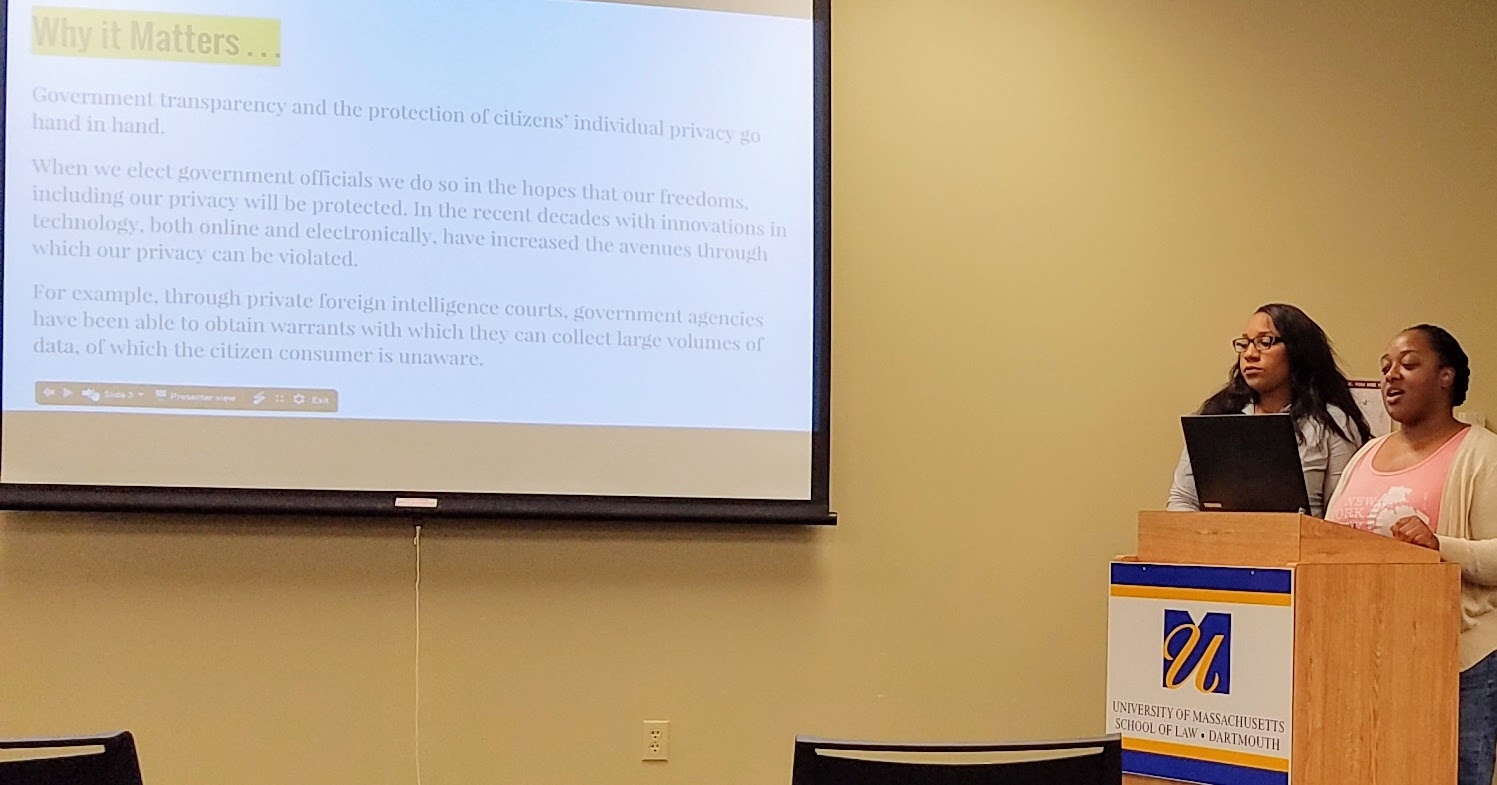 Law students Sache Rockamore and Jennifer Flemister give a presentation on freedom of information and public access to the judiciary as part of a public educational program they created for a project in Legal Skills III.